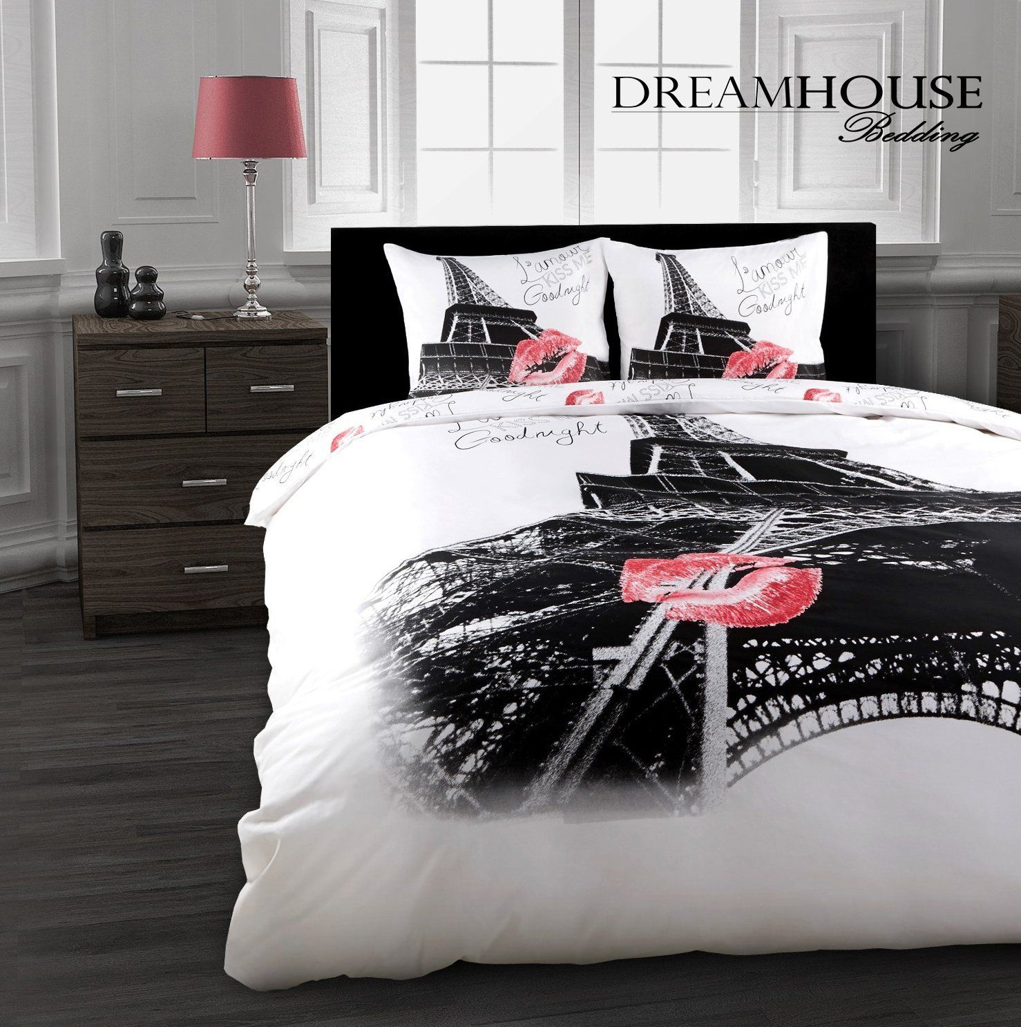 Ordinary Housse De Couette Tour Eiffel 140X200 #10: Amazon.com - Dreamhouse Bedding Duvet Cover Set Kiss My Paris 240x200/220 -