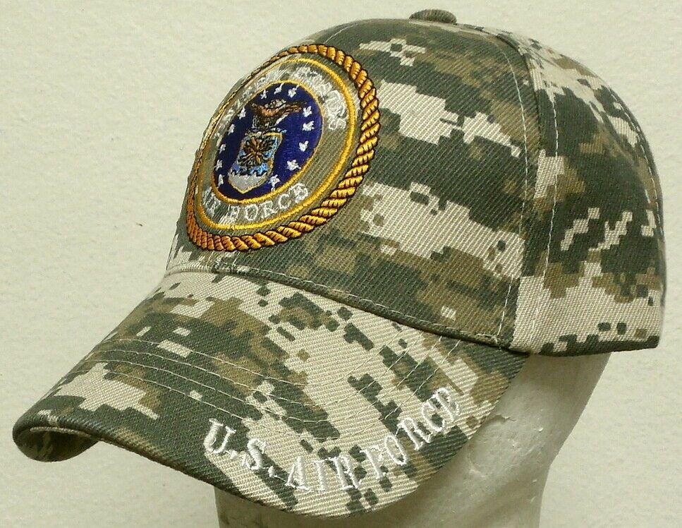 DIGITAL CAMO U.S AIR FORCE USAF INSIGNIA LOGO EMBLEM USA AMERICAN FLAG CAP HAT