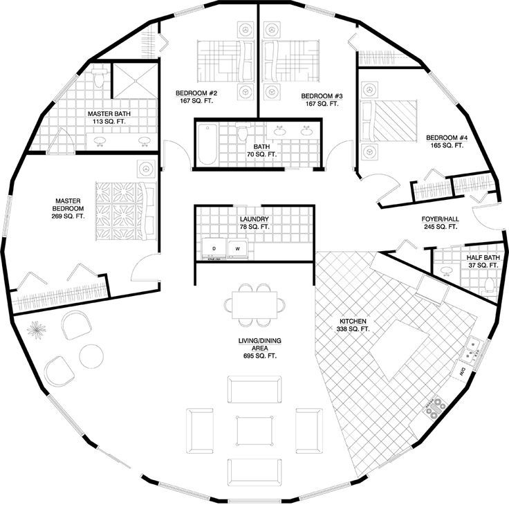 Living Space And 4 Bedrooms In Single Yurt Round House Plans Round House Home Design Plans