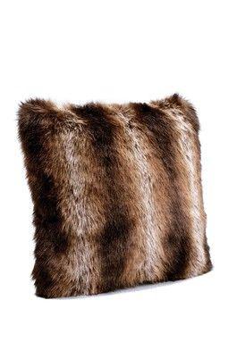 "Limited Edition 18"" Faux Fur Pillow - Tanuki"