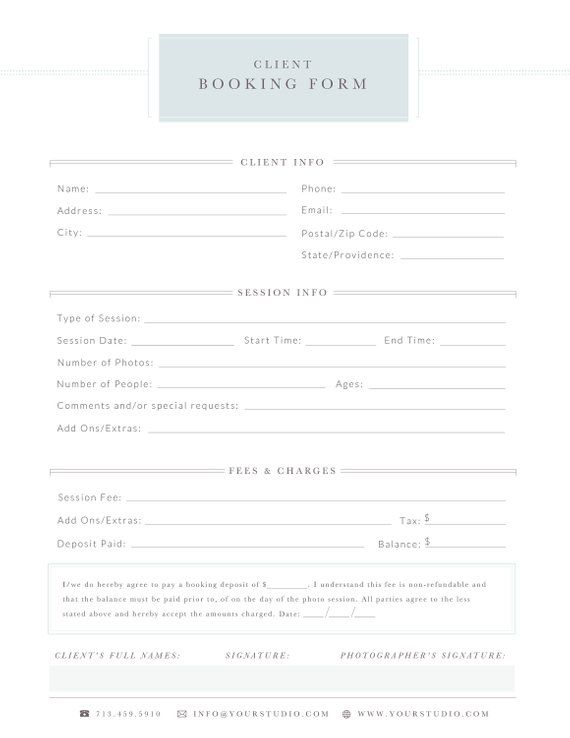 Client Booking Form, Business Forms for Photographers