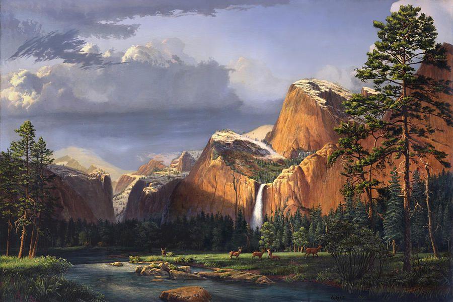 Deer Meadow Mountains Western Stream Deer Waterfall Landscape Oil Painting Stormy Sky Snow Scene Mountain Landscape Painting Landscape Paintings Oil Painting Landscape