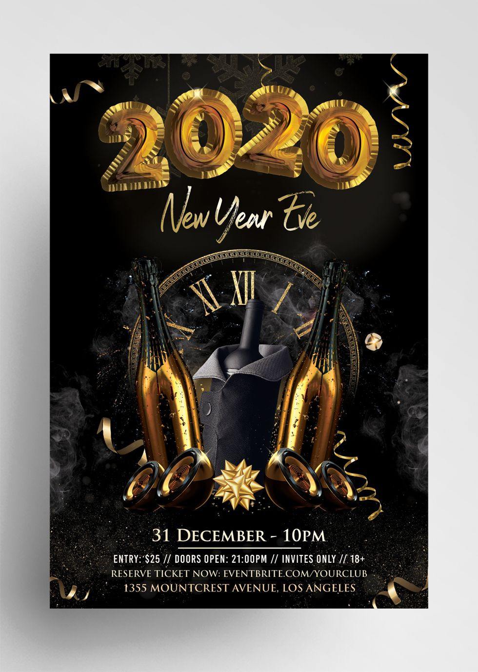 2020 New Year Eve PSD Flyer Template vol4 PixelsDesign