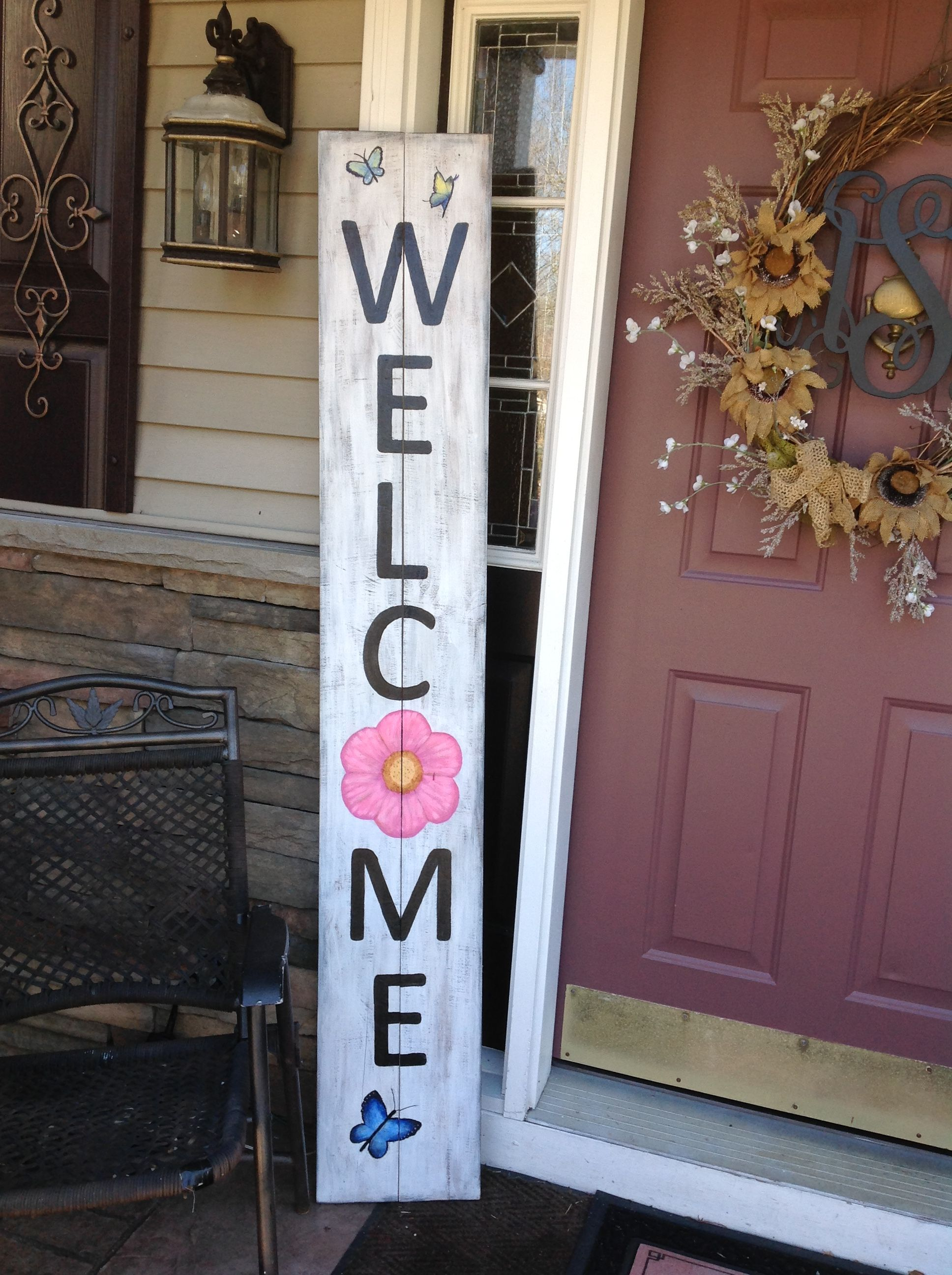 Welcome Sign Front Porch With Flower And Butterflies Porch Signs Welcome Signs Front Door Porch Decorating