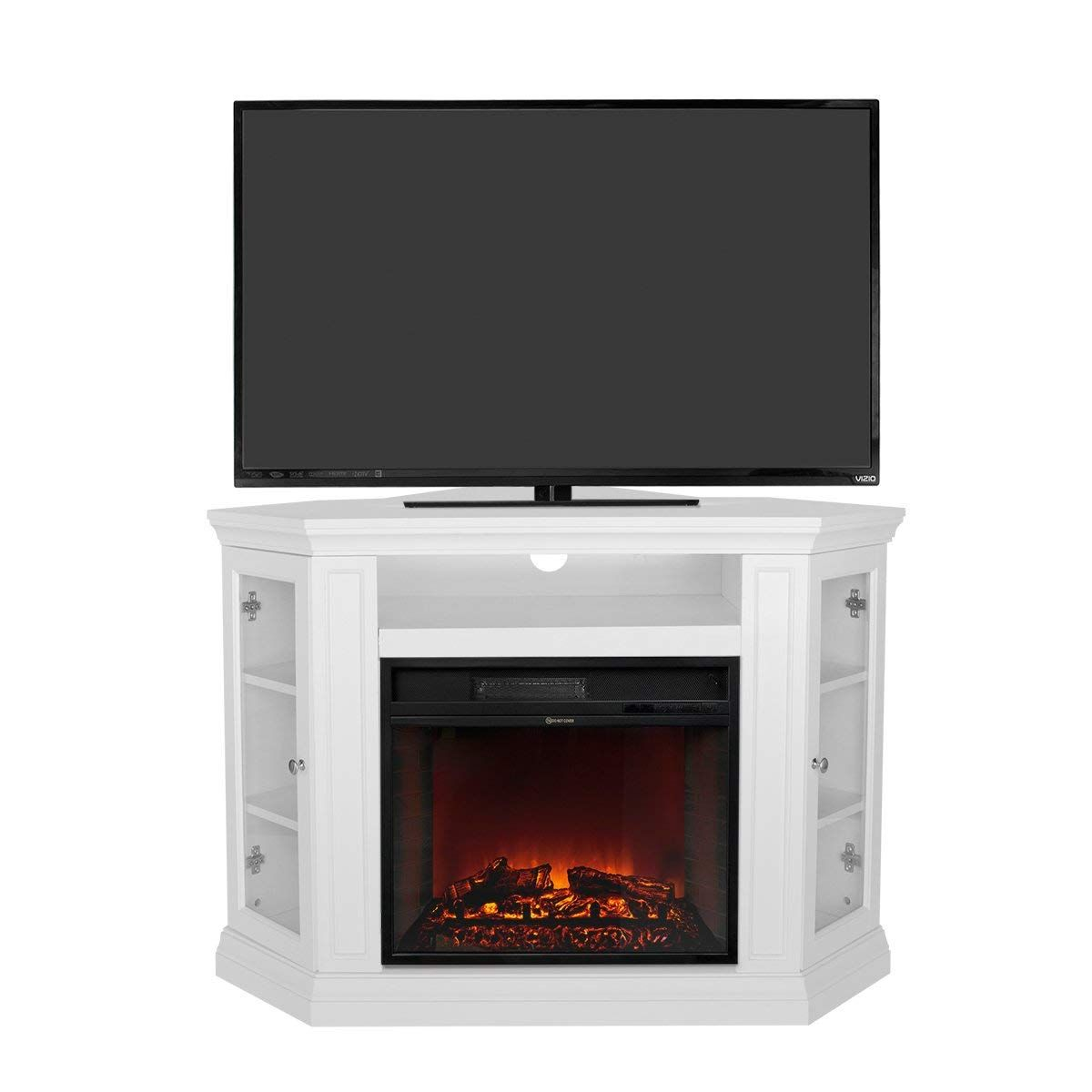 Xtremepowerus Electric Portable Fireplace With Tv Stand Corner