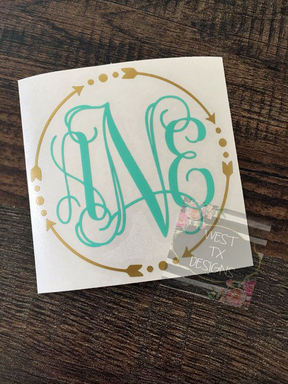 Monogrammed Decal  Personalized  Arrow Monogram  by WestTXDesigns