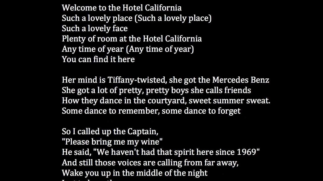 Eagles Hotel California Lyrics Meaning Lyrics Meaning Songs With Meaning Eagles Hotel California