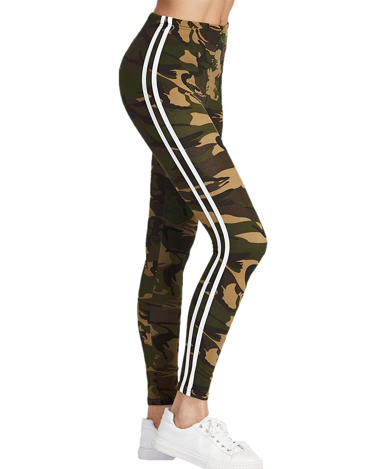 e023a421a8ac0 Women's Leggings Camouflage Fitness Slim Sport Pants Joggers Striped Side  Trousers Bottoms - Ecamouflage - C81873AWICH,Women's Clothing, Leggings # women ...