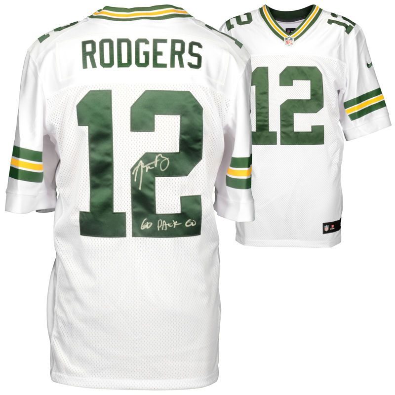 Aaron Rodgers Green Bay Packers Fanatics Authentic Autographed Nike White  Elite Jersey with