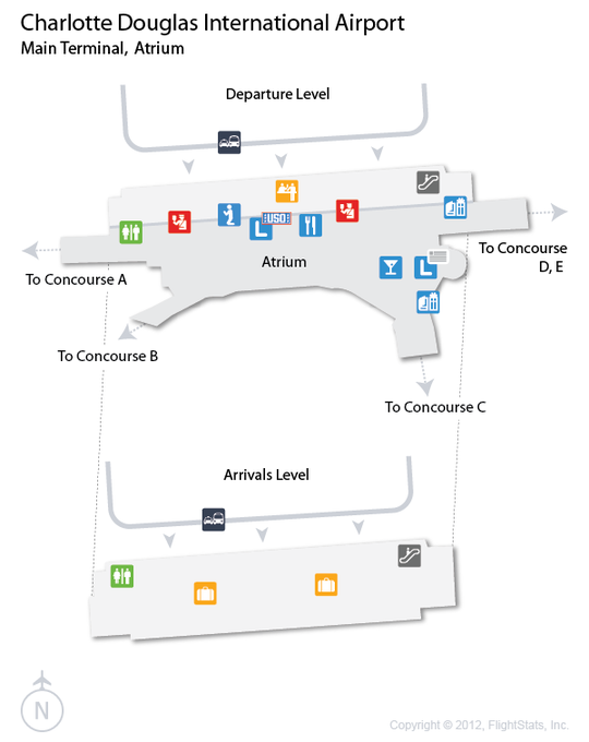 CLT) Charlotte Douglas International Airport Terminal Map | airports ...