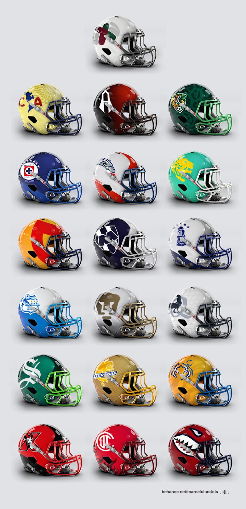 Los equipos de la Liga MX en cascos de futbol americano 1493fa8ae773b