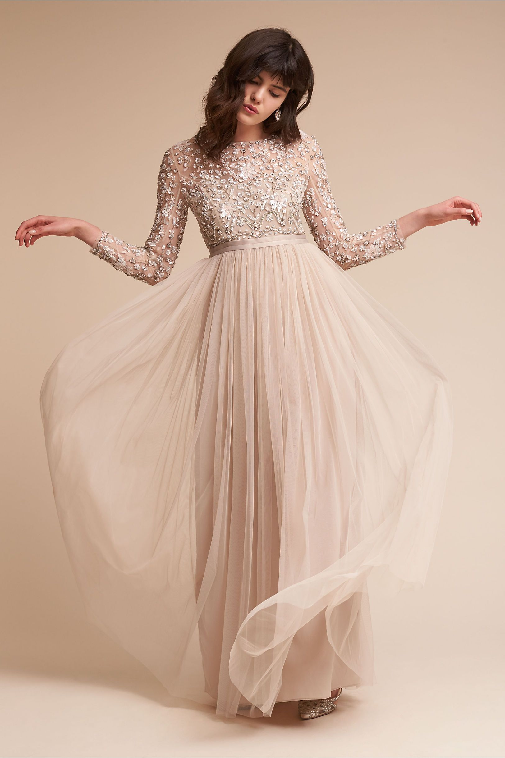 Bhldn S Needle Thread Rhapsody Dress In Rose Beige