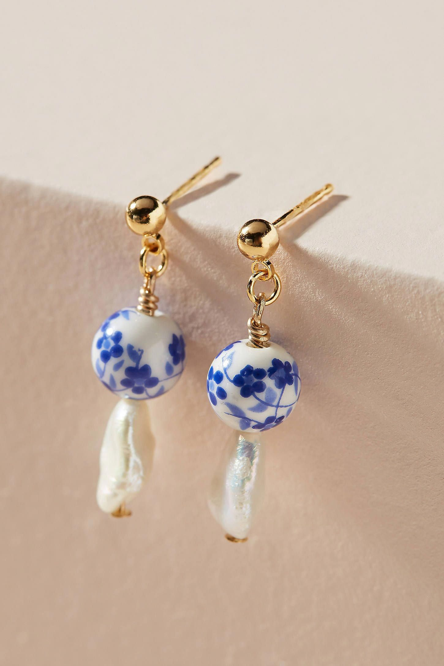 Cloverpost James Pearl Drop Earrings By In Blue Size All Jewelry At Anthropologie Keepitclassyjewelry In 2020 Pearl Drop Earrings Drop Earrings Classy Jewelry