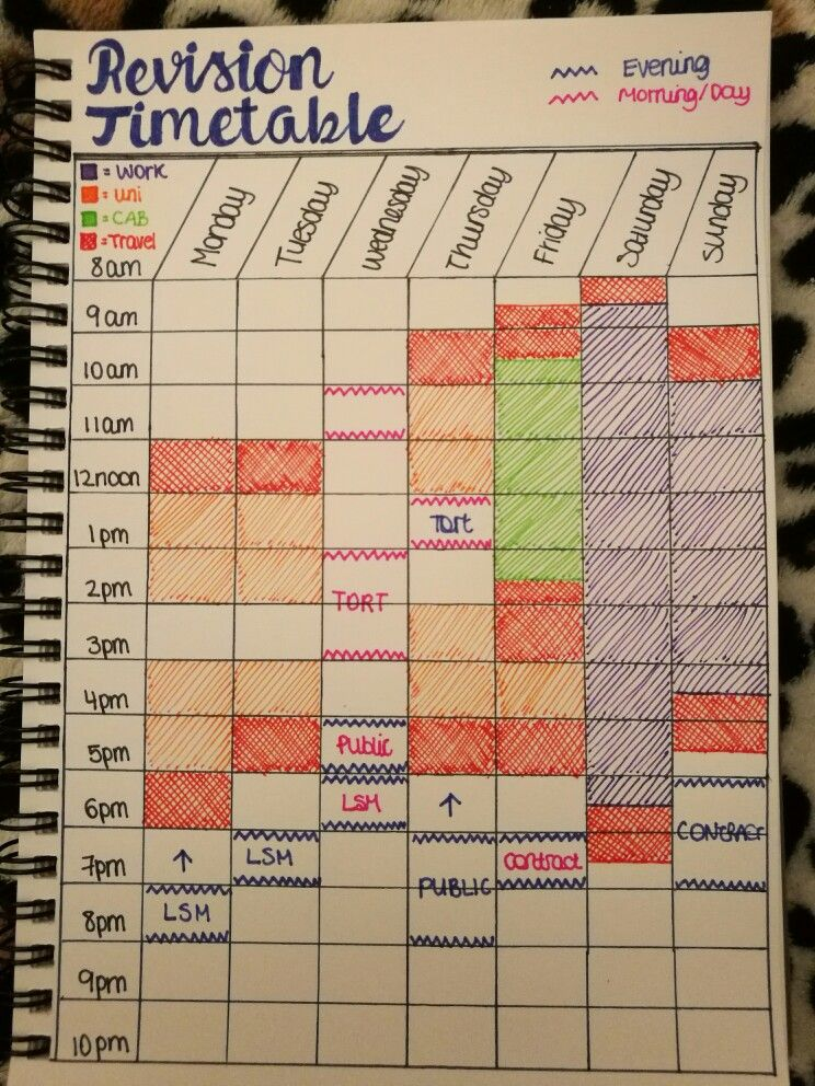 Organised myself a little study timetable to make me motivated to
