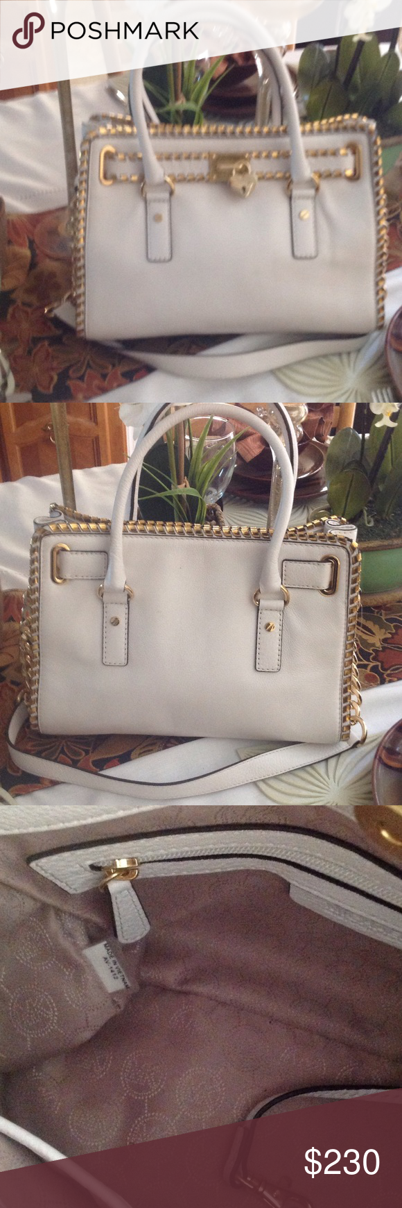 Michael Kors Hamilton shoulder bag  hand bag Michael Kors Hamiltion, new without tag. White with Gold hardware, medium size. Has replaceable lock and key . MSRP$298 Michael Kors Bags Shoulder Bags