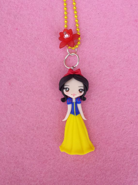 Necklace Snow White polymer clay fimo by Artmary2 on Etsy, €12.00 #snowwhite