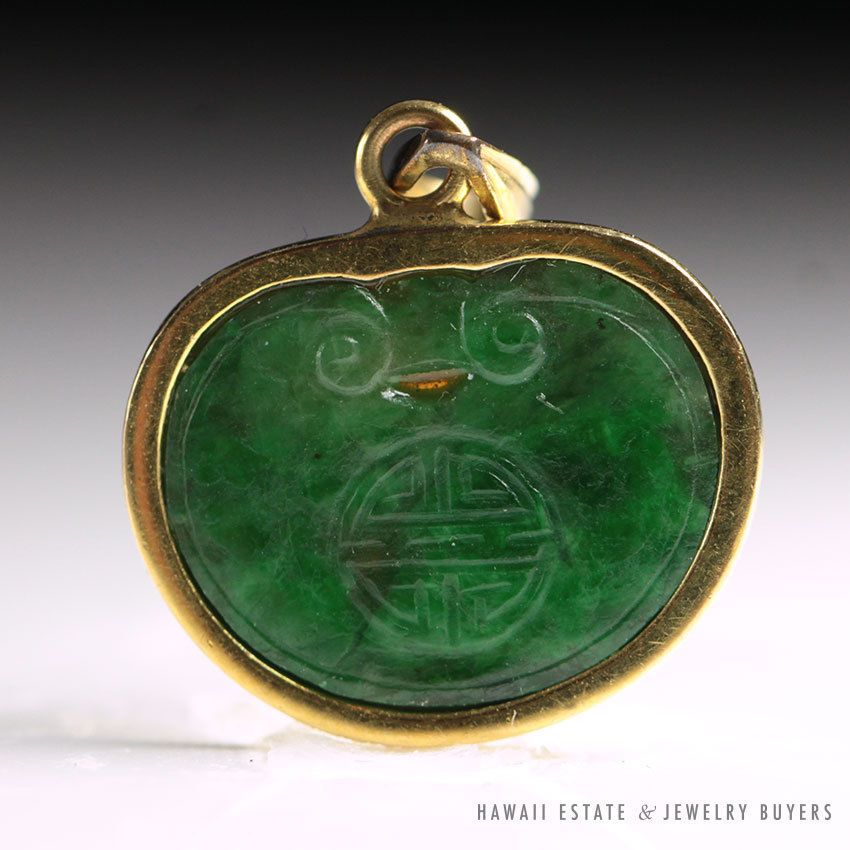 Vintage green chinese jade kidney pendant 14k yellow gold nr jewelry modern chinese export gold and carved jade pendant aloadofball Images
