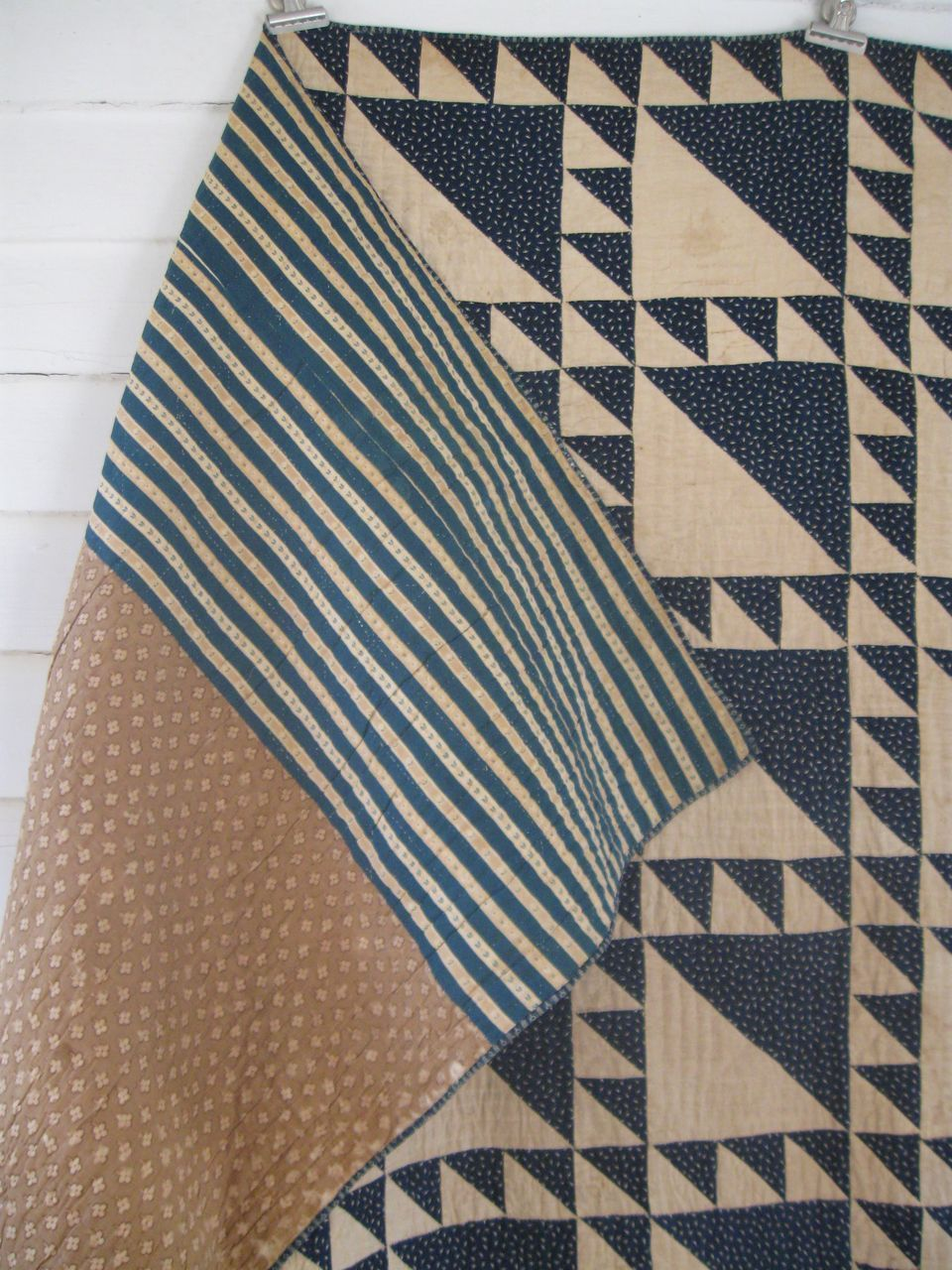 Antique Indigo Calico, Lady of the Lake Quilt, 19th C. Love the simple, pretty pattern.