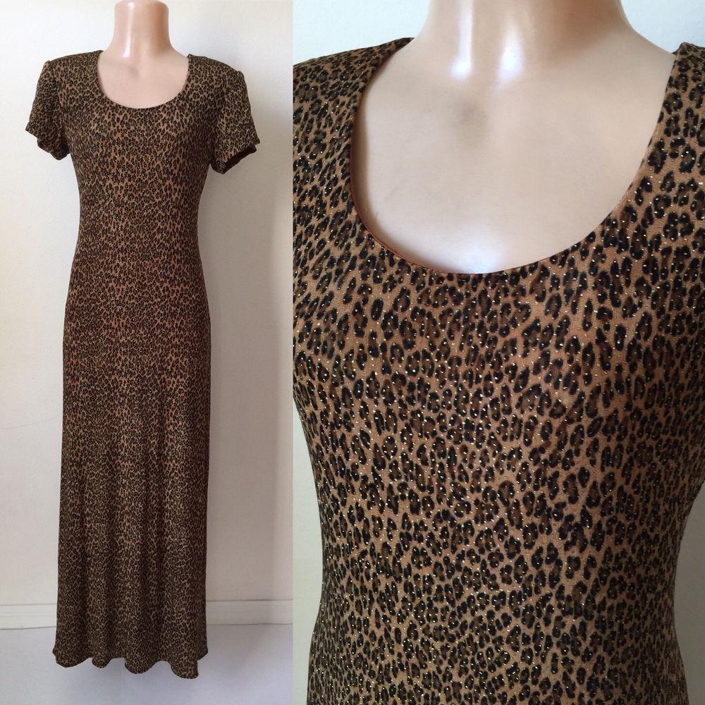 8 M Vintage LEOPARD Print MAXI DRESS Gold Glitter Brown Long Stretch  80 s 90 s  2b2bfb79e