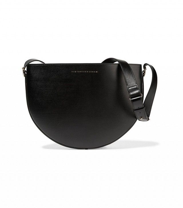 Victoria Beckham Woman Baby Half Moon Textured-leather Shoulder Bag Black Size Victoria Beckham OimwrlZgjq