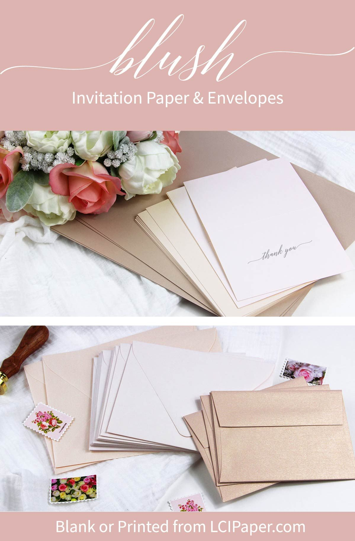 Order blush colored wedding invitation paper and envelopes blank or ...