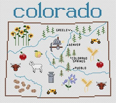 Colorado Map Cross Stitch Pattern DIY Pinterest Cross - Us map patterns