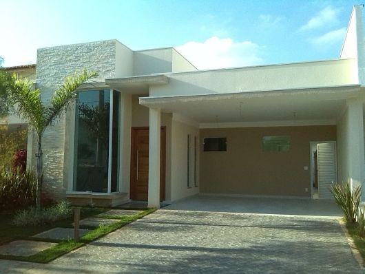 fachada com pedras decorativas Fachadas de casas terreas