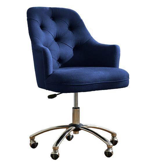 Twill Tufted Swivel Desk Chair In 2020 Tufted Desk Chair Desk Chair Cool Desk Chairs