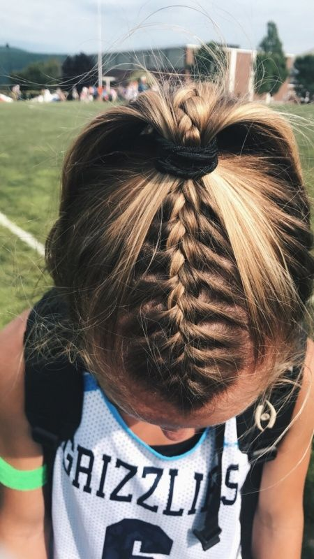 I Wish I Could Do My Hair Like This Haha Then I Would Be Good To Go Every Single Day Braided Ponytail Hairstyles Volleyball Hairstyles Sports Hairstyles