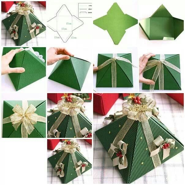 Pyramid Christmas Tree Box #diycrafts #christmascrafts