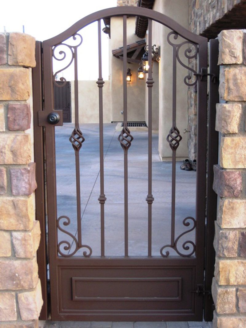 iron gate black singles # 108 single iron gates with custom iron scrolls down the center, with knuckles on the sides # 109 single iron gate with a double iron gate.