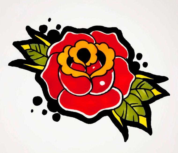 Tattoo In Stile Old School Il Disegno Di Una Rosa Rossa Con