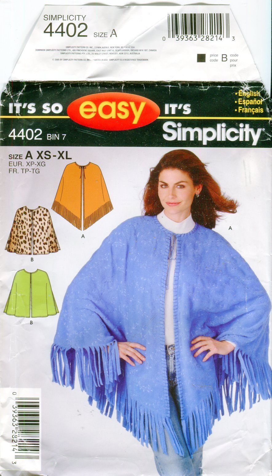 669192338 Simplicity 4402 Misses Ponchos Sewing Pattern OOP Fringe or Straight Hem  Size Xs to Xl UNCUT by PengyPatterns on Etsy