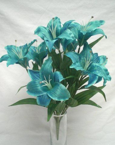 Turquoise large tiger lily 9 silk flowers bush bouquet artificial turquoise large tiger lily 9 silk flowers bush bouquet artificial mightylinksfo
