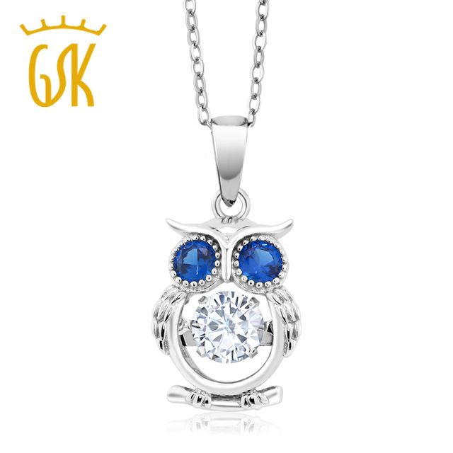 Check it on our site GemStoneKing 925 Sterling Silver Dancing  White and Blue CZ Owl Chokers Necklaces & Pendants for Women Clothing Accessories just only $37.79 with free shipping worldwide  #finejewelry Plese click on picture to see our special price for you