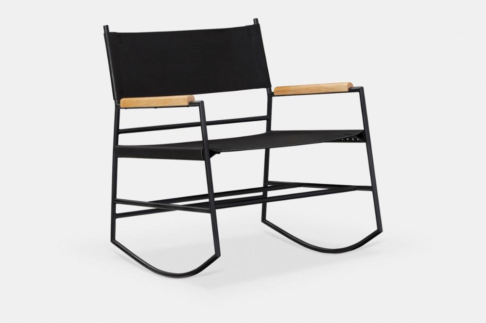 Jack Chaise Bercante En Cuir Maison Corbeil In 2020 Black Upholstery Chair Bauhaus Style