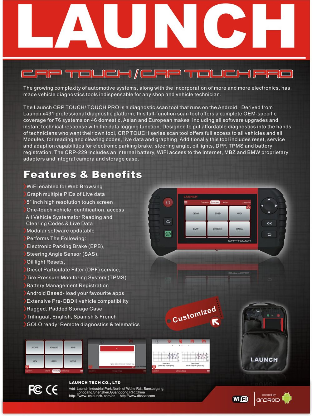 2019 New LAUNCH CRP TOUCH PRO Bluetooth / Wifi Scanner