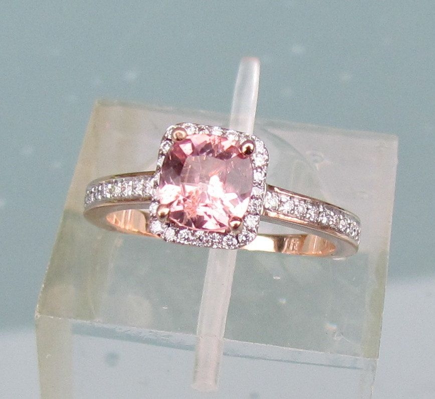 Peach Pink Sapphire Engagement Ring in 14k Rose Gold Diamond Halo May Birthstone Gemstone Ring ...