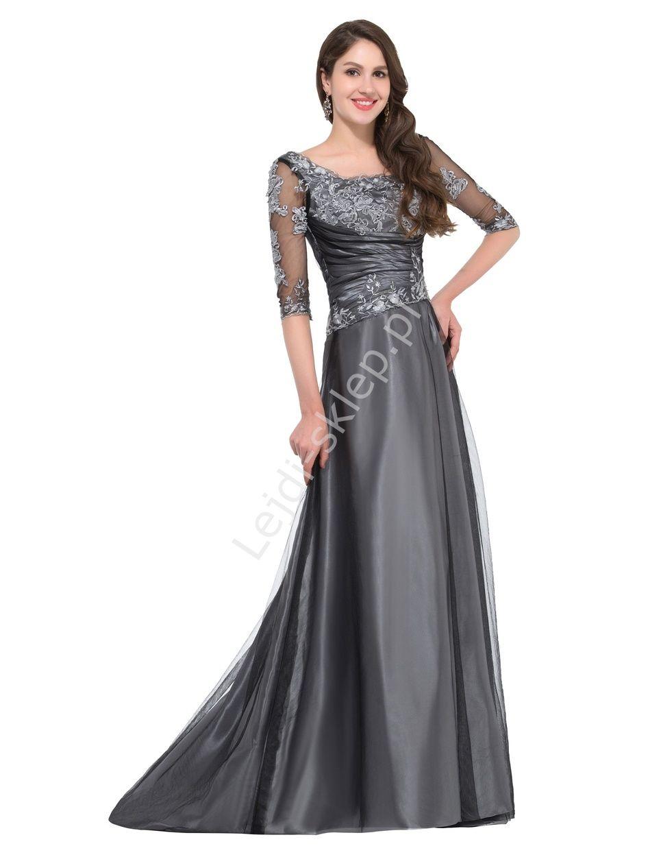 Grafitowo szara suknia dla dojrzałej kobiety wyrafinowana suknia z