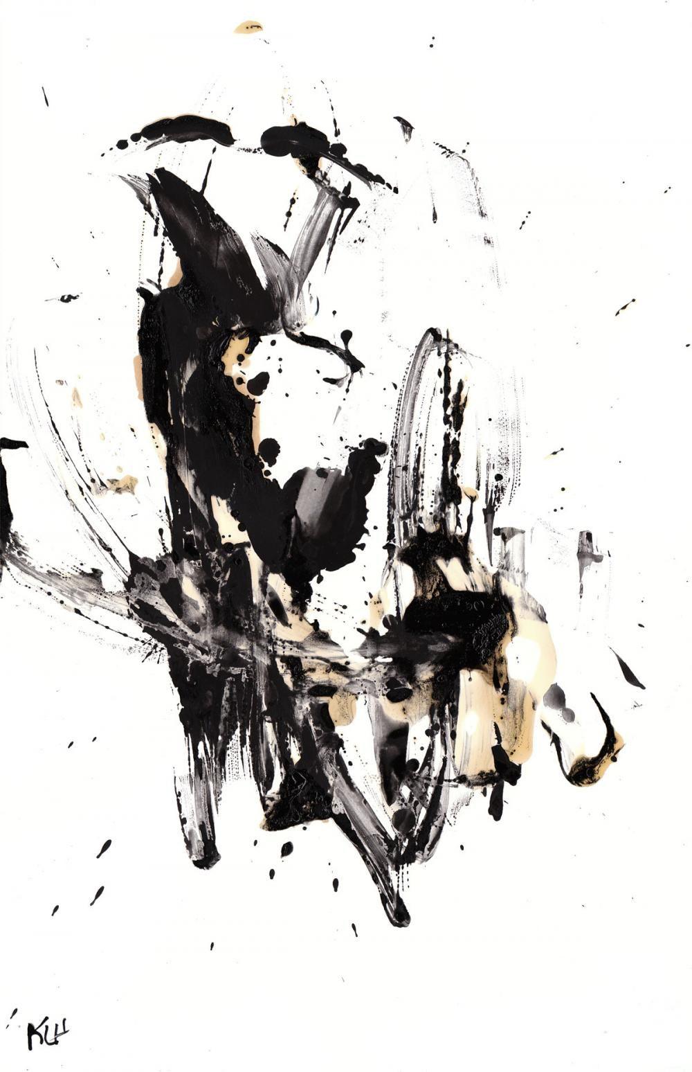 Black and white modern art abstract original 11x17 mom art