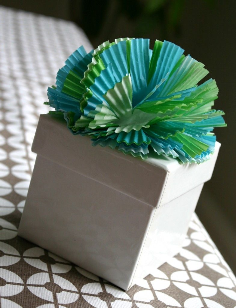 Cupcake liner gift toppers.
