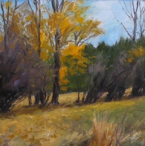 """October Breeze  Oil on board, 6"""" x 6"""" $125 plus, painting by artist Don Gray"""