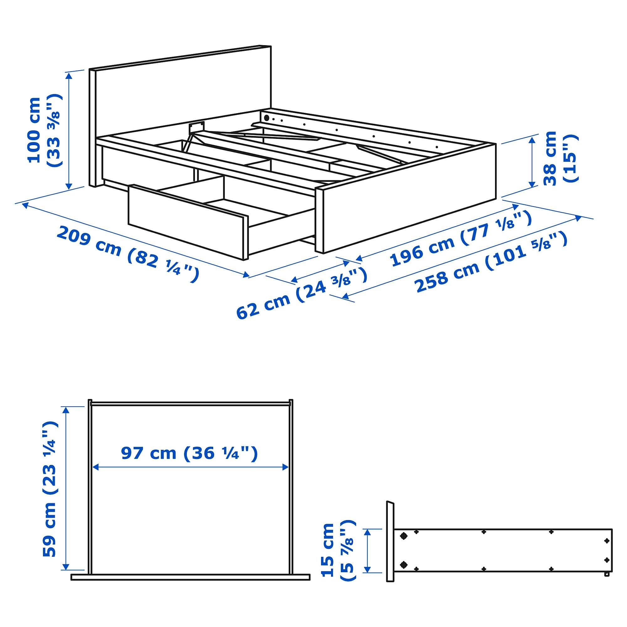 Malm Bettgestell Hoch Mit 2 Schubkasten Eichenfurnier Weiss Lasiert Leirsund Ikea Osterreich Malm Bett Bettgestell Verstellbare Betten