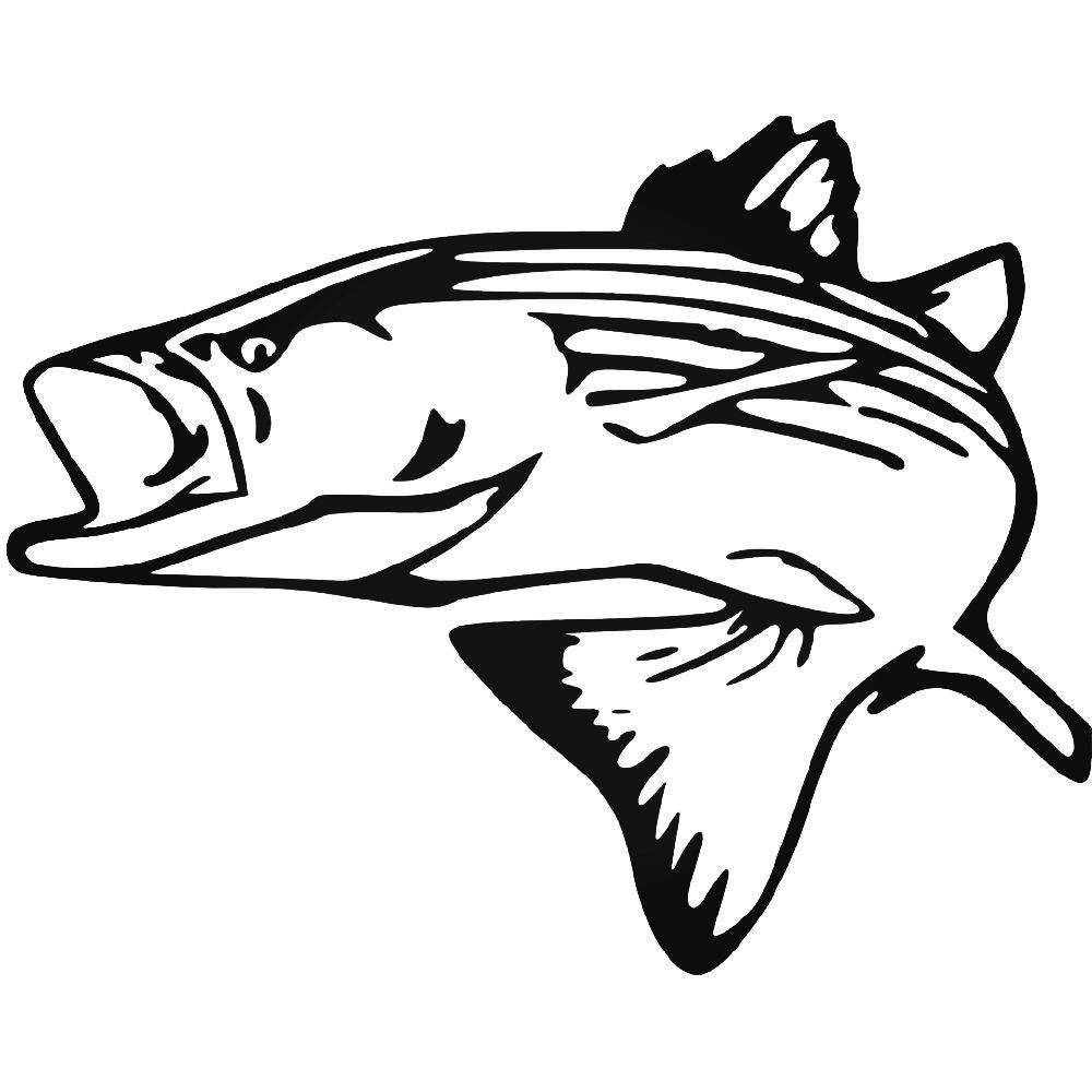 Striped Bass Vinyl Decal Sticker Silhouette Vinyl Striped Bass