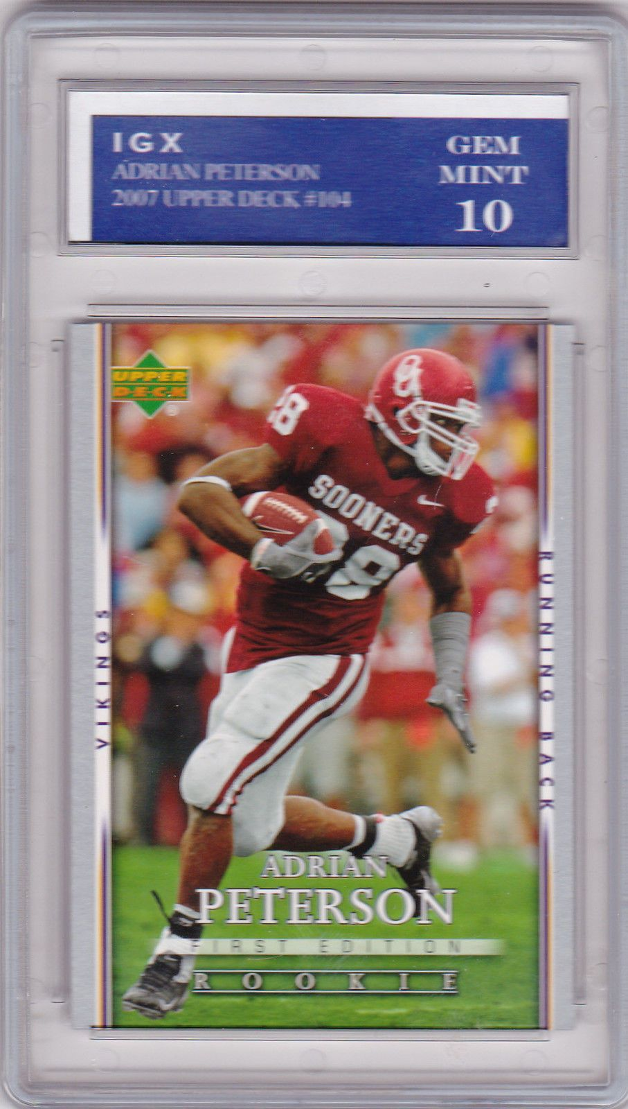Adrian Peterson Rookie Card 1st Edition Rc Sooners Football