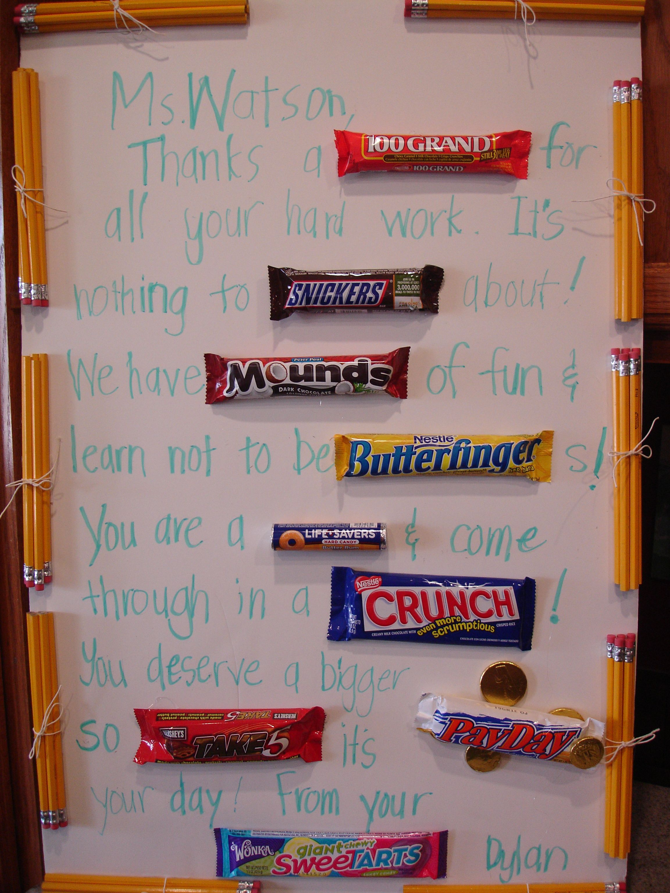 letter to the teacher using candy bars miss loner letter to the teacher using candy bars