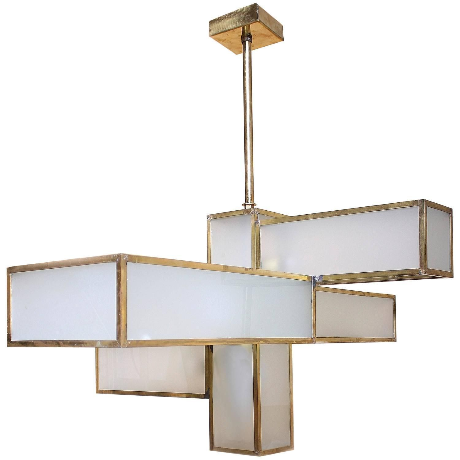 A Large Scale, Gorgeous Chandelier Made From Opaque Glass, Forged Brass