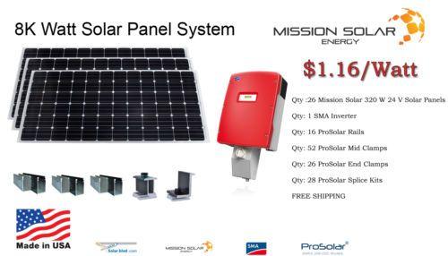 New 8 320 Watt Solar Panel System Grid Tie Monocrystalline 8kw Made In Usa Ad Solar Panel System Solar Panels Solar