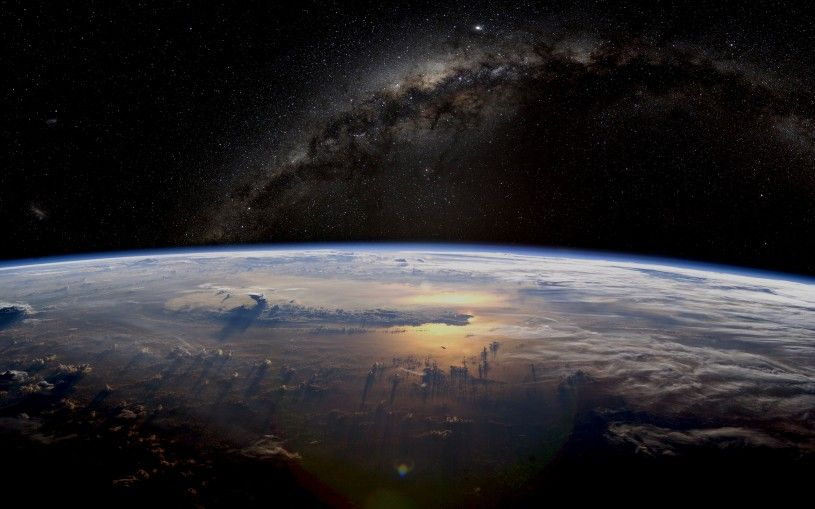 Milky way above the earth. Full HD Milky Way space