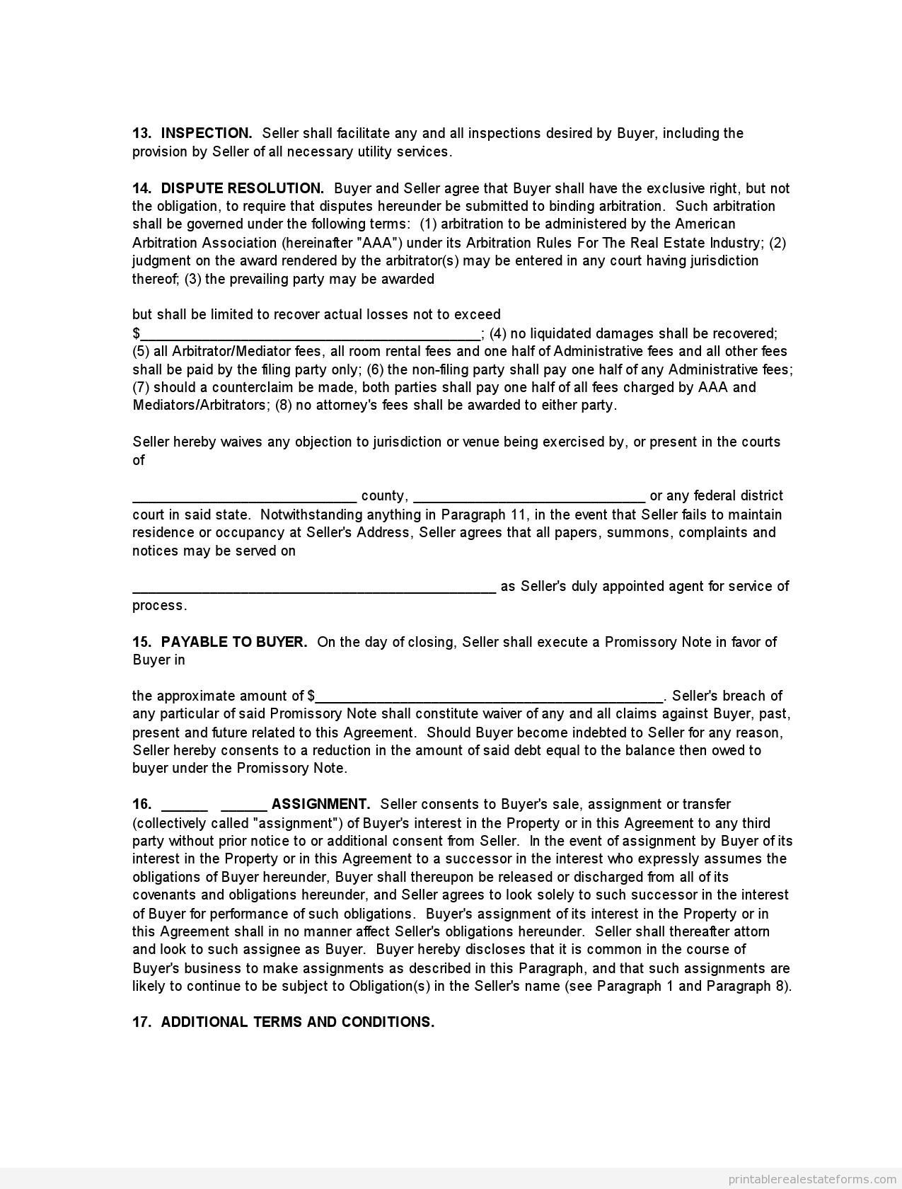Printable Buying Monster Purchase And Sale Agreement Template